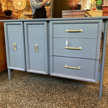 """3 drawer 2 door gray painted MCM credenza. 50"""" x 19"""" x 31.5"""""""