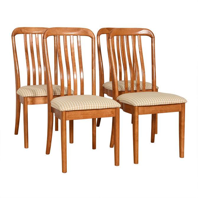 Set of 4 Danish 'Heart-Shaped' Teak Slatted Dining Chairs