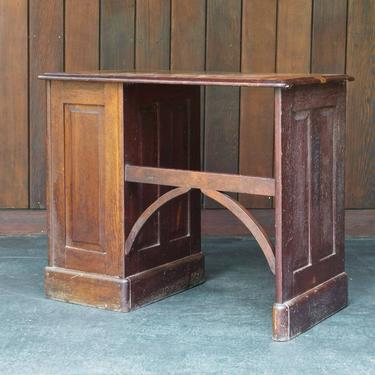 Old Wooden Victorian Mahogany Petite Writing Desk Vintage Industrial 1900s 1800s Side Table Chest Drawers by CabinModernist