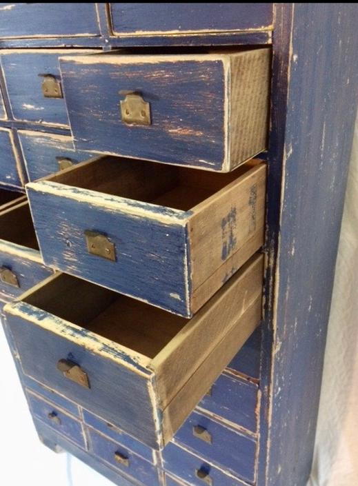 Antique, vintage, province blue apothecary 30 drawers cabinet. by SouliDesign
