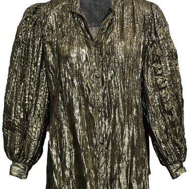 Adri Gold Blouse with Balloon Sleeves