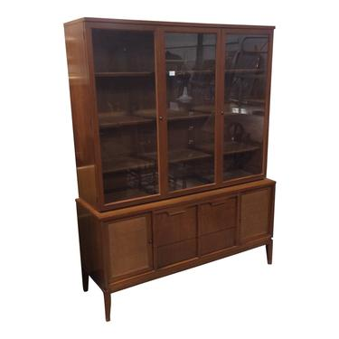 Walnut Mid Century Credenza with china closet top by QuaboagValleyAntique