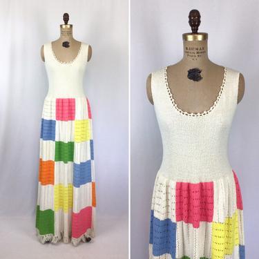 Vintage 70s dress | Vintage patchwork knit maxi dress | 1970s Picardo Knit dress by BeeandMason