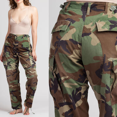 """Vintage High Waisted Camo Pants - Men's S, Women's S-M, 25""""-29"""" 