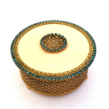 Ormolu Aquamarine Jeweled Trinket Jar with Lid by ModernPicks