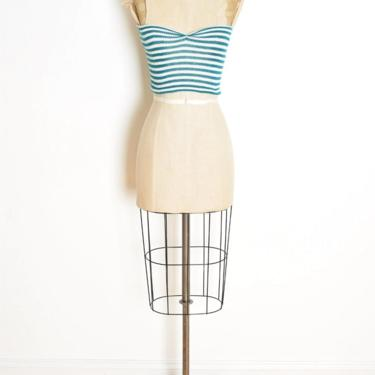vintage 70s crop top teal white striped tube top shirt disco roller girl XS S clothing by huncamuncavintage