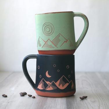 Good Day + Night Mountains Farmhouse Mug - sgraffito carved rustic pottery by BreadandBadger