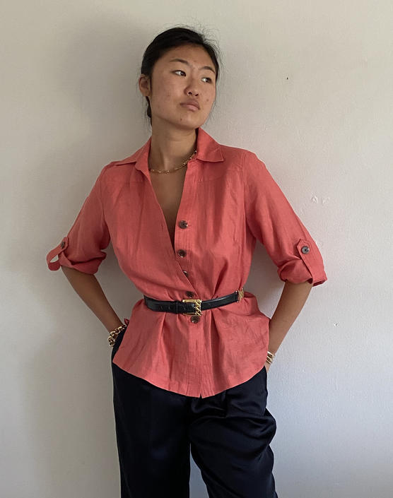90s linen belted blouse / vintage peach linen belted tab sleeve tunic safari blouse   M by RecapVintageStudio