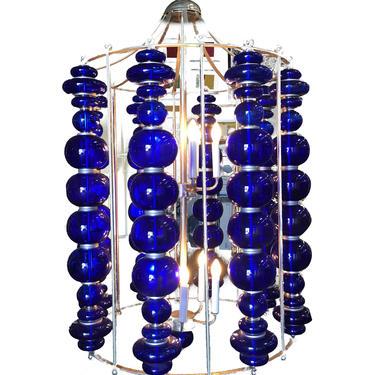 Modern Stacked Cobalt Glass Chandelier w/ Nickel Finish by HarveysonBeverly