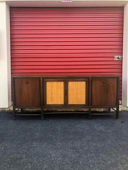 Mid Century Walnut Sideboard with Cane Doors