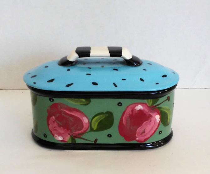 Vintage Droll Designs © Hand Painted Lidded Apple Watermelon Oblong Casserole by 3GirlsAntiques