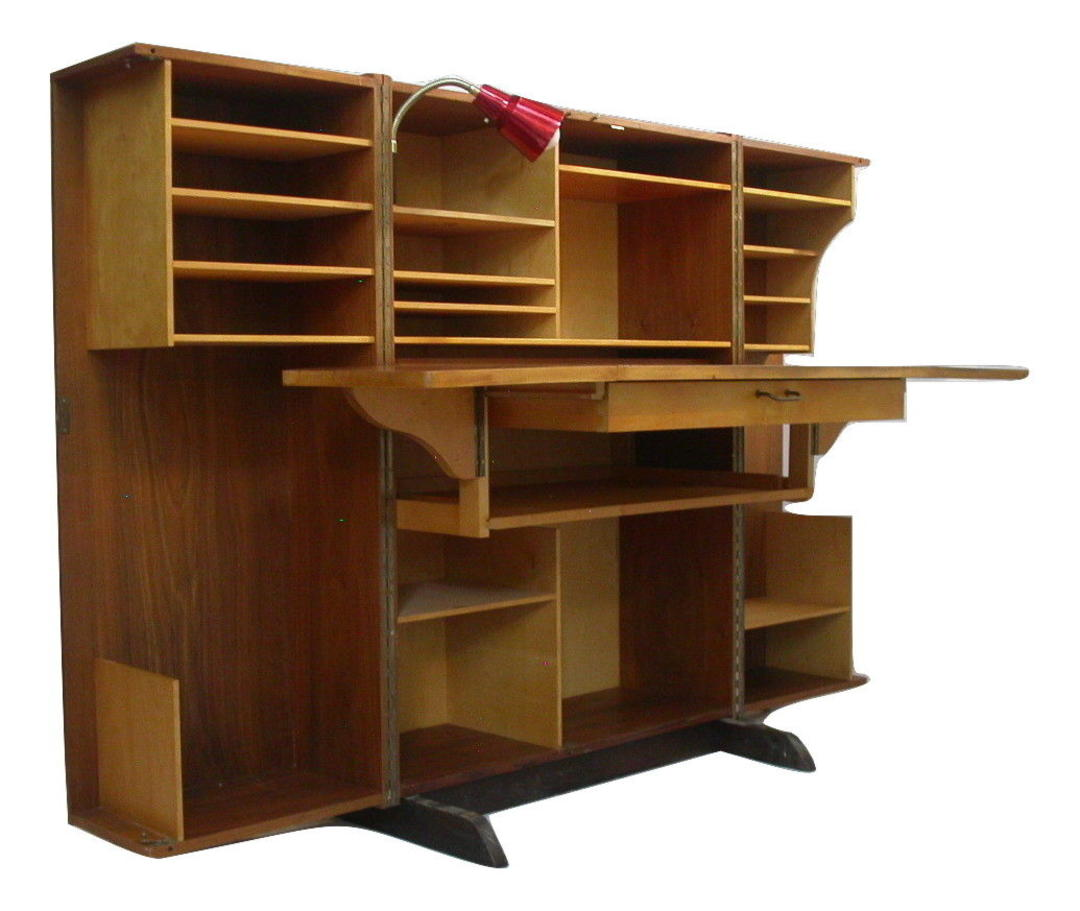 Danish Modern Teak Folding Magic Box Desk Mummenthaler