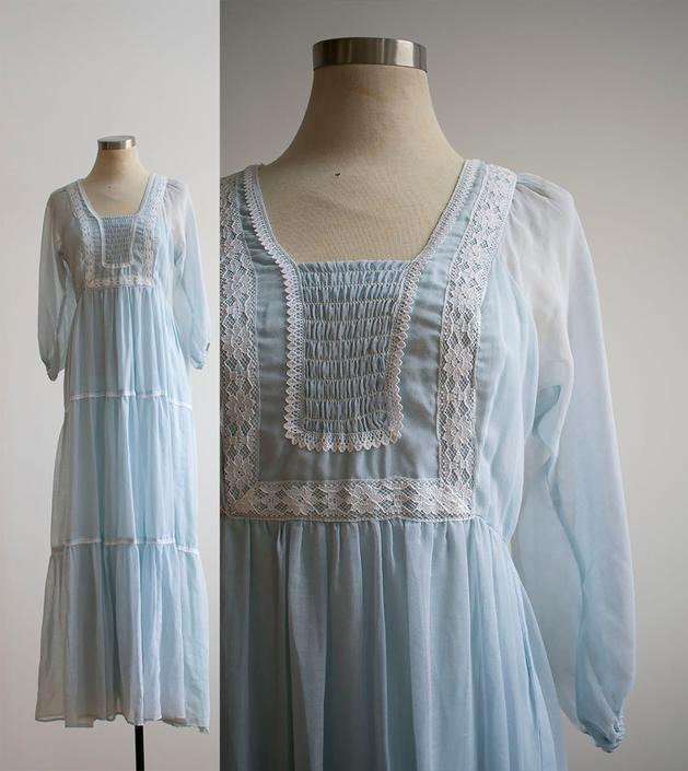 1970s Pale Blue Boho Dress / 1970s Blue Maxi Dress / Blue and White Lace Gown / Vintage Bohemian Hippie Maxi Dress / Vintage Bridesmaid by milkandice