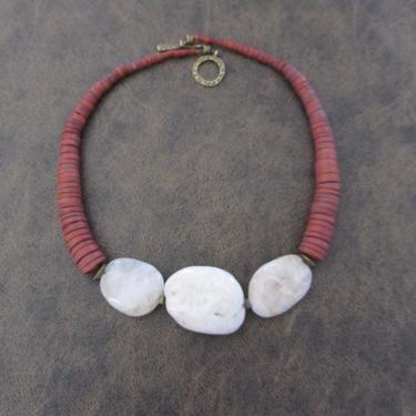 Chunky necklace, river stone necklace, boho necklace, rustic necklace, ethnic necklace, natural stone, bold statement necklace, bohemian by Afrocasian