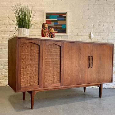 Mid Century Modern MARBLE + CANED CREDENZA / Sideboard/ Media Stand by CIRCA60
