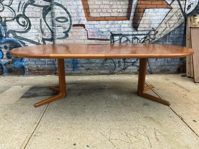 "Vintage mid century modern danish dining dinner table teak 49"" round beautiful with 2 leaves by symmetrymodern"