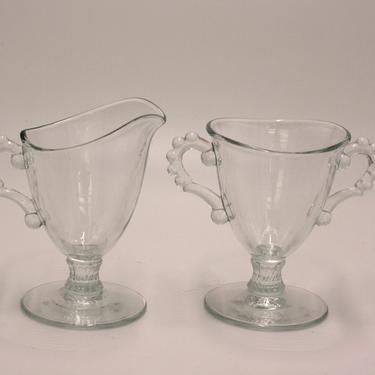 vintage imperial candlewick footed creamer and open sugar by suesuegonzalas