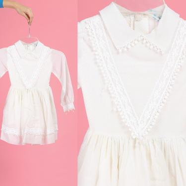 60s L'Enfant White Swiss Dot Girl's Dress - Size 4T to 5   Vintage Boho Lace Trim Toddler Kids Dress by FlyingAppleVintage