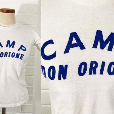 True Vintage T-Shirt 70s Don Orione Camp Gordon USA 1970s White Blue Short Sleeve Tee Hipster Shirt Retro Single Stitch Unisex Small Medium by CheckEngineVintage