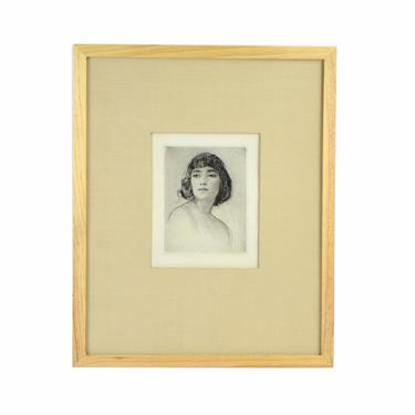 1920's Etching Portrait Bare Shouldered Woman w Bobbed Hair Arthur Garratt by PrairielandArt