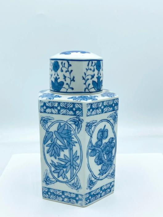 """Vintage Blue & White Porcelain Tea Caddy Jar with hand painted floral design- Octagon Shaped 8"""" tall by JoAnntiques"""