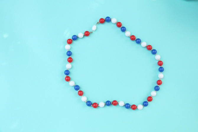 Vintage 1960s Necklace Red White and Blue Beads Celluloid 4th of July Outfit by WalkinVintage