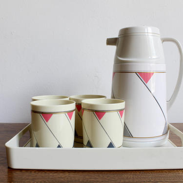 Set of 80s Graphic Pop Art Cups, Carafe, and Serving Tray, Gray, Gold and Pink Geometric Pattern, 90s, Complete Serving Set, Pitcher, Coffee by FORAGEmodernhome