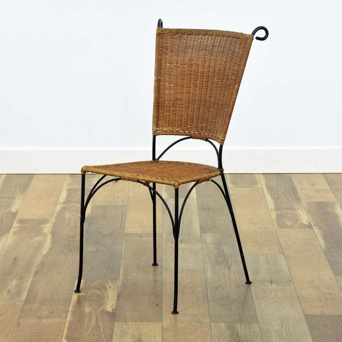 Black Iron Frame Wicker Accent Chair