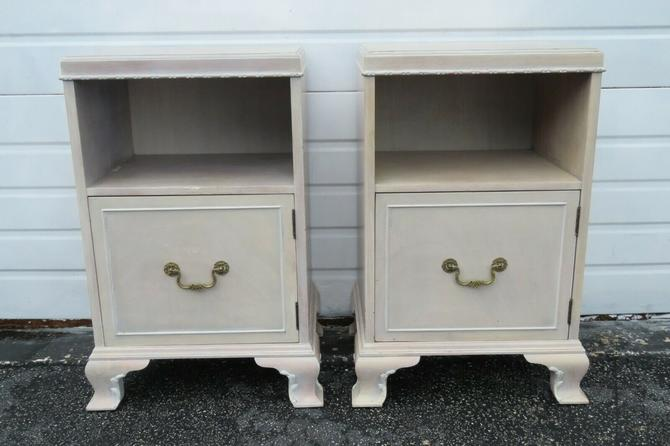 Whitewash Painted Tall Pair Nightstands Side End Tables by Rway 1653