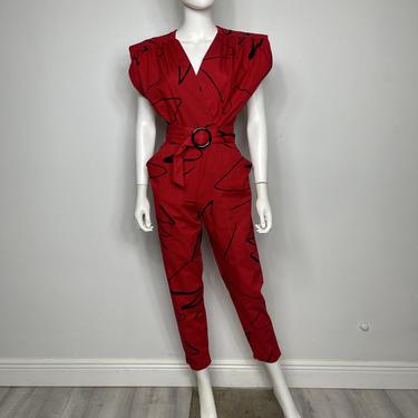Vtg 80s cotton avant garde abstract print jumpsuit SM by AnimalVintageMiami