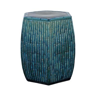 Hexagon Bamboo Theme Turquoise Green Ceramic Clay Garden Stool cs5966E by GoldenLotusAntiques