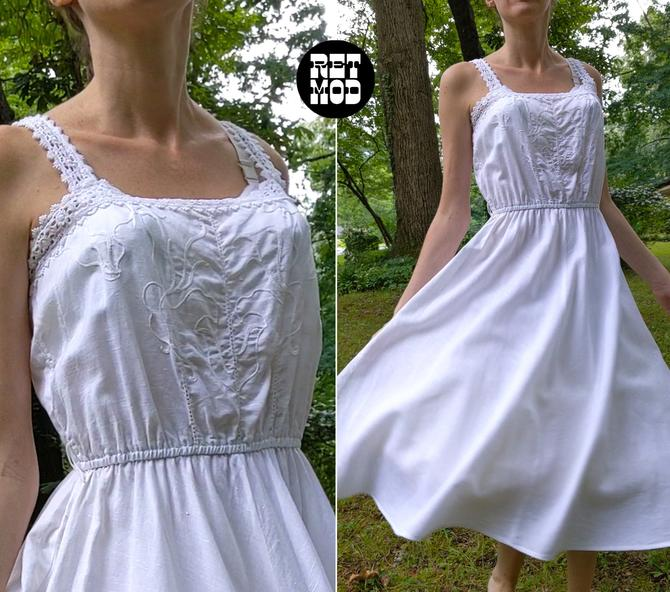 Gorgeous Vintage 70s White Lacy Fit and FlareElastic Waist Cotton Sun Dress by RETMOD
