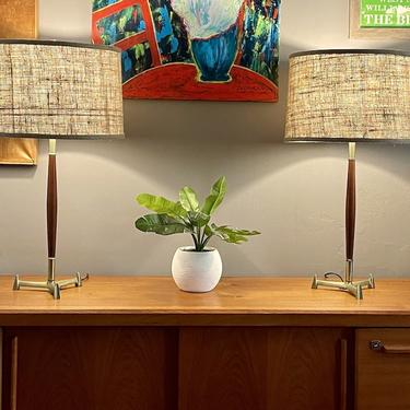 Vintage Pair of Wood and Brass Table Lamps 1960s