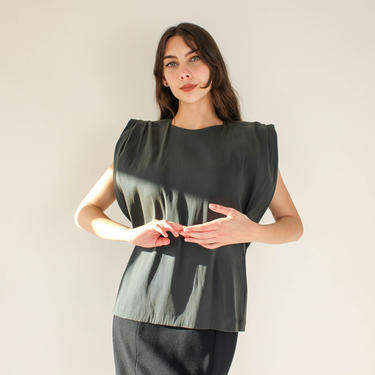 Vintage Lanvin Deep Sage Green Silk w/ Gold Iridescence Accordion Wing Shoulder Sleeveless Top   Made in France   Y2K Designer Blouse by TheVault1969