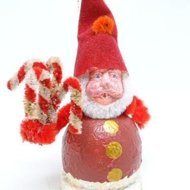 Vintage Santa with Chenille Canes Christmas Tree Ornament,  Composite with Hand Painted Face by exploremag
