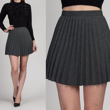 90s Gray Pleated Schoolgirl Mini Skirt - Small | Vintage High Waist A Line Grunge Miniskirt by FlyingAppleVintage