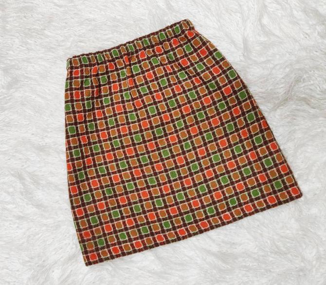 Vintage 70s Wool Mini Skirt // Square Plaid Pattern with Green, Orange, and Brown Wool by GemVintageMN