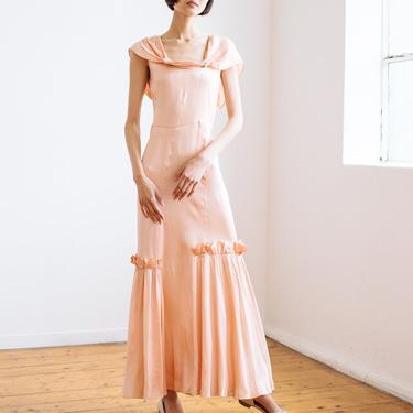 RARE 1930s bias cut baby pink silk ruffled gown OOAK antique old hollywood by DevoreVintage