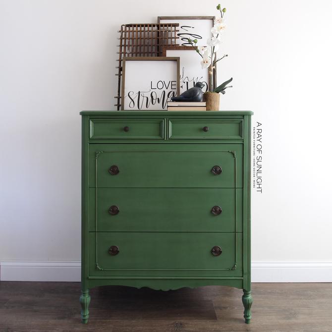 Emerald Green Tall Dresser - Painted Dresser - Tall Dresser -Green Chest of Drawers - Chippy Painted Furniture - Vintage Dresser - Farmhouse by ARayofSunlight