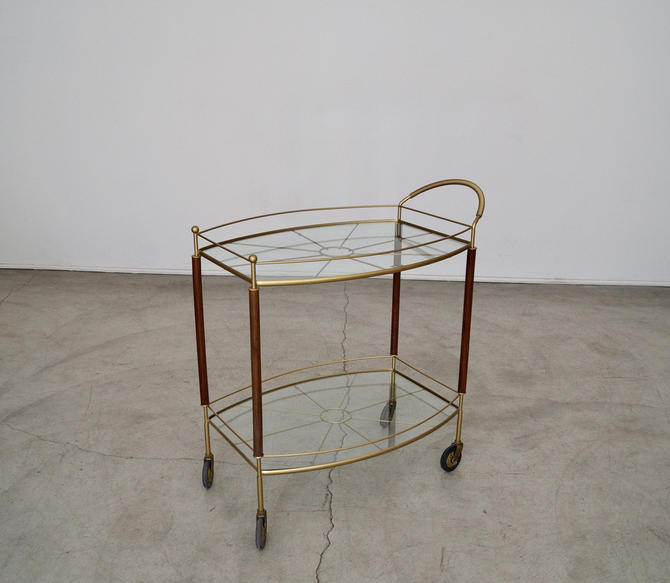 Mid-century Modern 1950's Hollywood Regency Bar Cart Professionally Refinished & New Glass Inserts! by CyclicFurniture