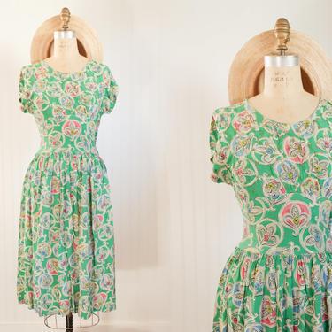 1930s fleur de lis dress || As Is || Size XS/S 25 waist by foganddriftwood