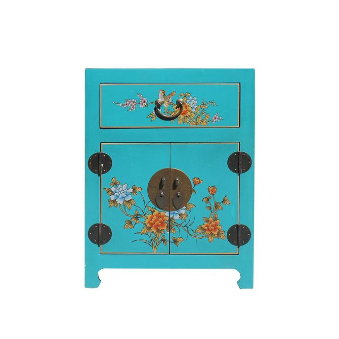 Chinese Turquoise Aqua Graphic Vinyl Moon Face End Table Nightstand cs5954E by GoldenLotusAntiques