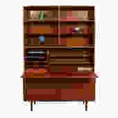 2-Piece Danish Teak Secretary / Display Cabinet
