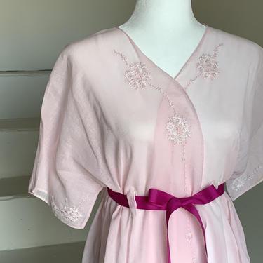 1920s SOft Pink Bed Jacket Light Cotton Voile Embroidery Medium Vintage by AmalgamatedShop