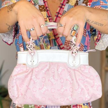 90's Baby Pink Celine Fabric Handbag