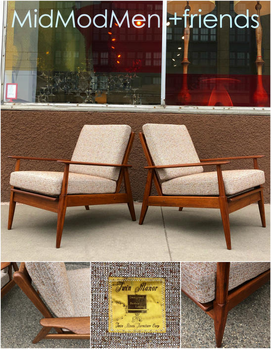 Authentic Mid-century Easy Chairs Fully Restored