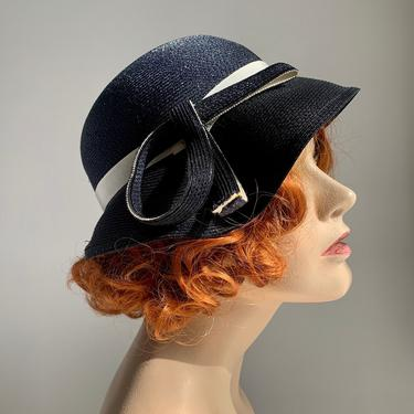 1950's Does 1920's Cloche' Hat - Navy Straw with White Grosgrain Details - Size Medium by GabrielasVintage