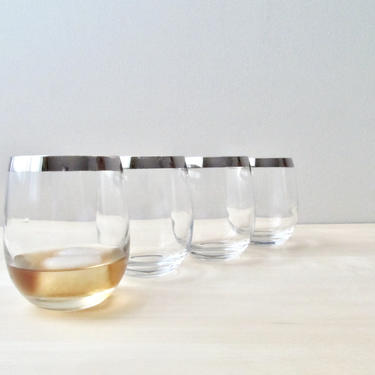 roly poly bar glasses - set of four midcentury barware cocktail brandy snifters silver rims by ionesAttic