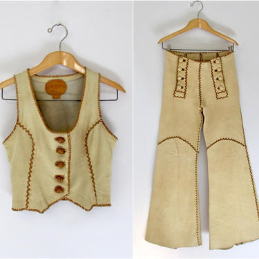 NORTH BEACH LEATHER 70s Vest & Pants Two Piece Set | 1970s Nbl Pitiquito Mexico, Hand Crafted | 60s Glam Rock Rocker, Hippie, Boho | X Small by lovestreetsf