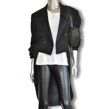 Vintage Womens Black Tuxedo Jacket with Tails  Satin Lapel Double Breasted Blazer L by TheUnapologeticSoul